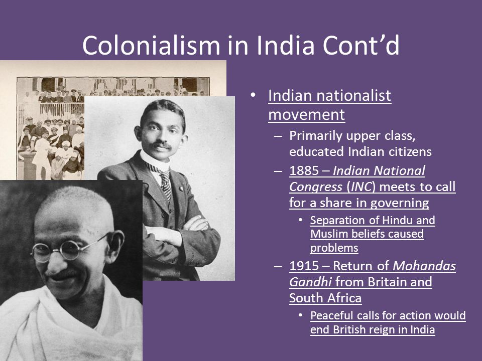 Colonialism in India Cont'd