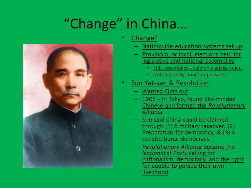 Change in China… Change Sun Yat-sen & Revolution