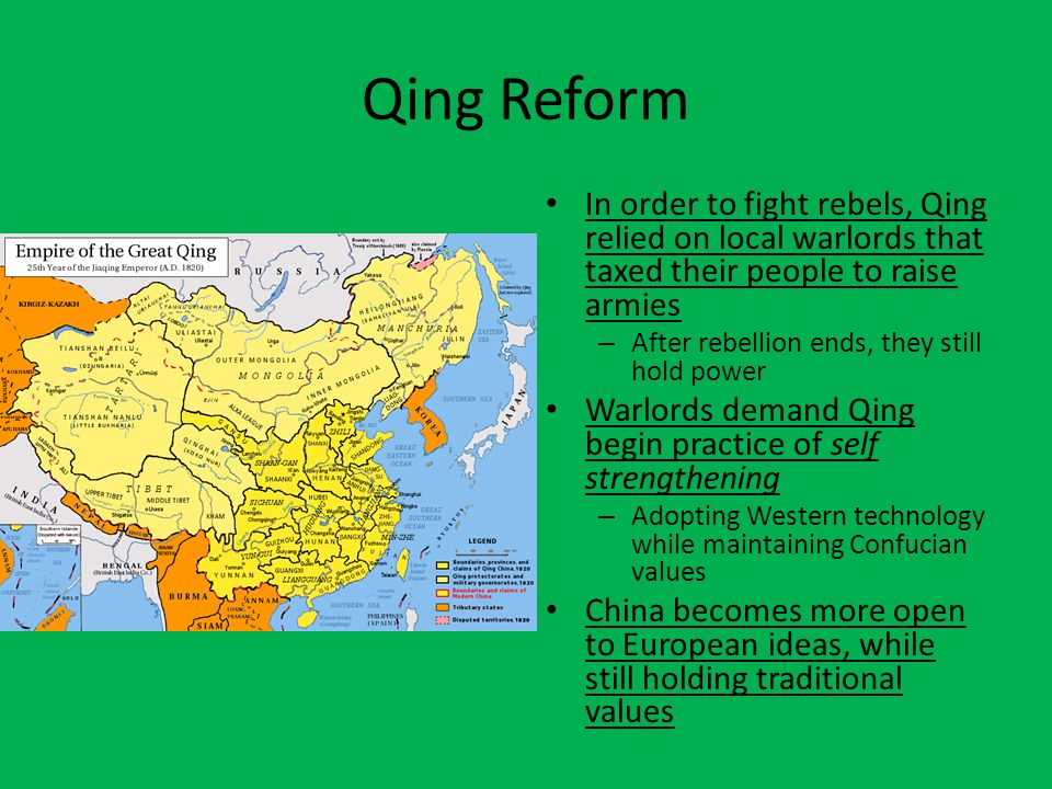 Qing Reform In order to fight rebels, Qing relied on local warlords that taxed their people to raise armies.