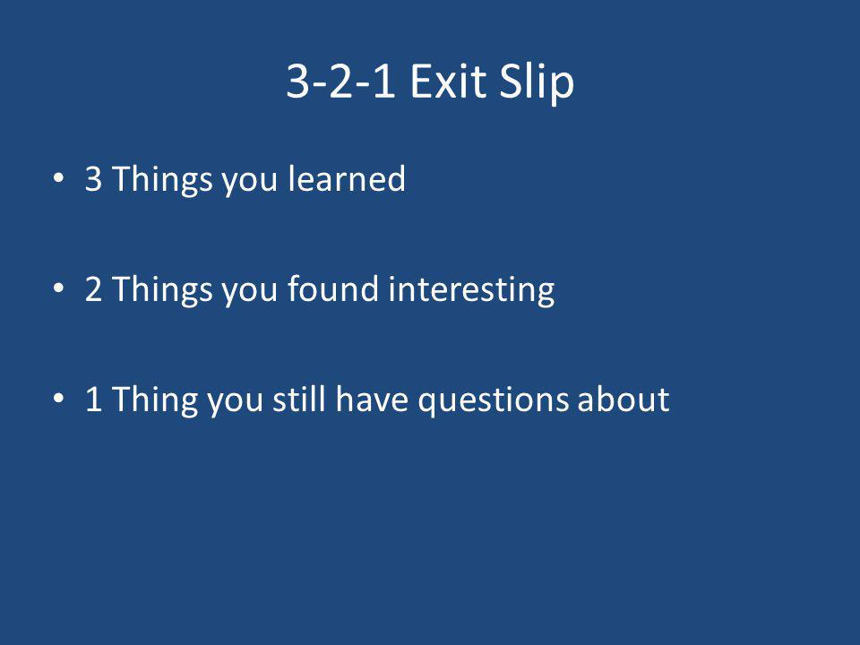 3-2-1 Exit Slip 3 Things you learned 2 Things you found interesting