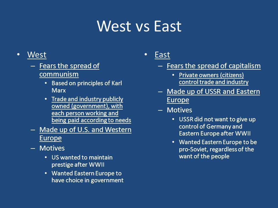 West vs East West East Fears the spread of communism