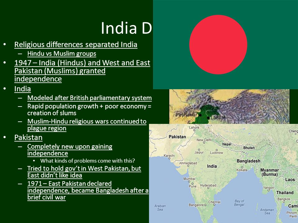 India Divided Religious differences separated India