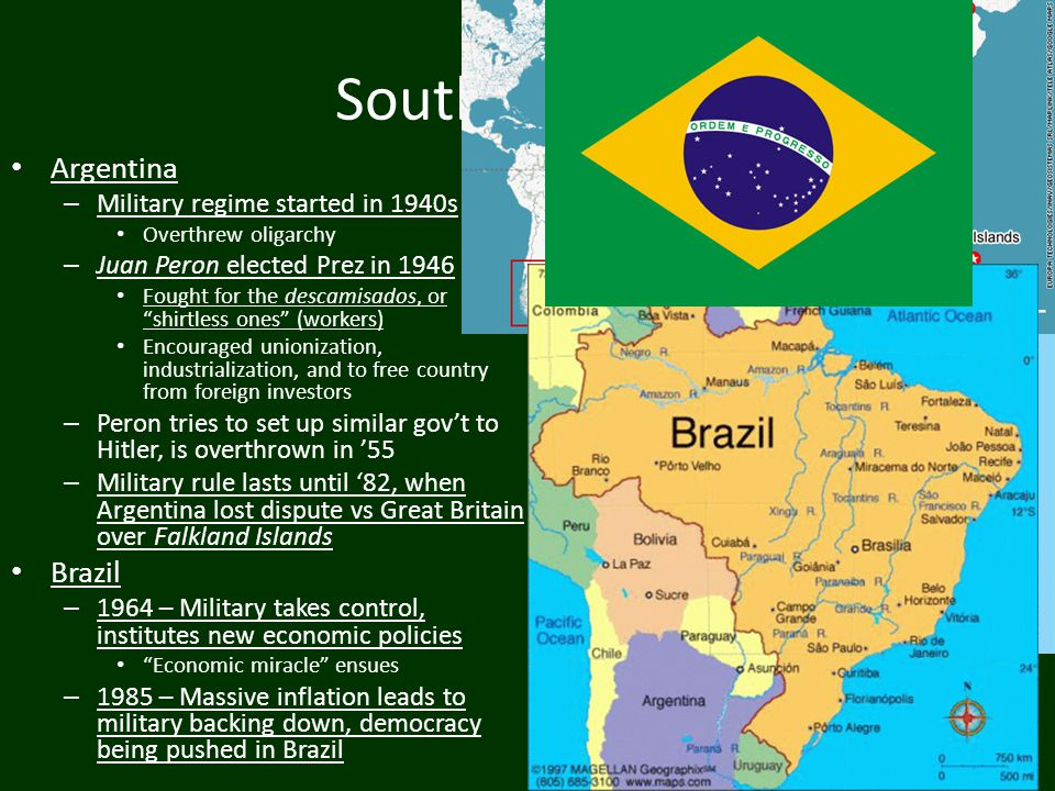 South America Argentina Brazil Military regime started in 1940s