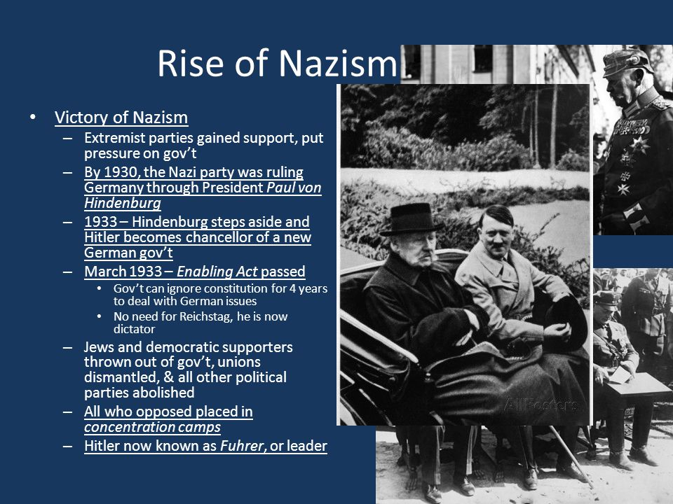 Rise of Nazism Cont'd Victory of Nazism