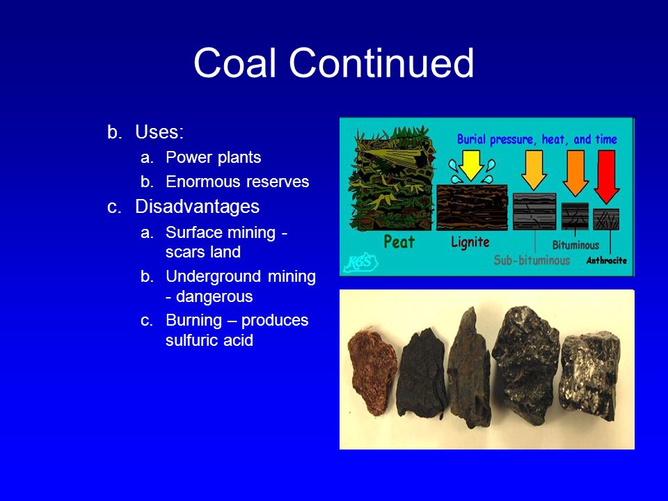 Coal Continued Uses: Disadvantages Power plants Enormous reserves