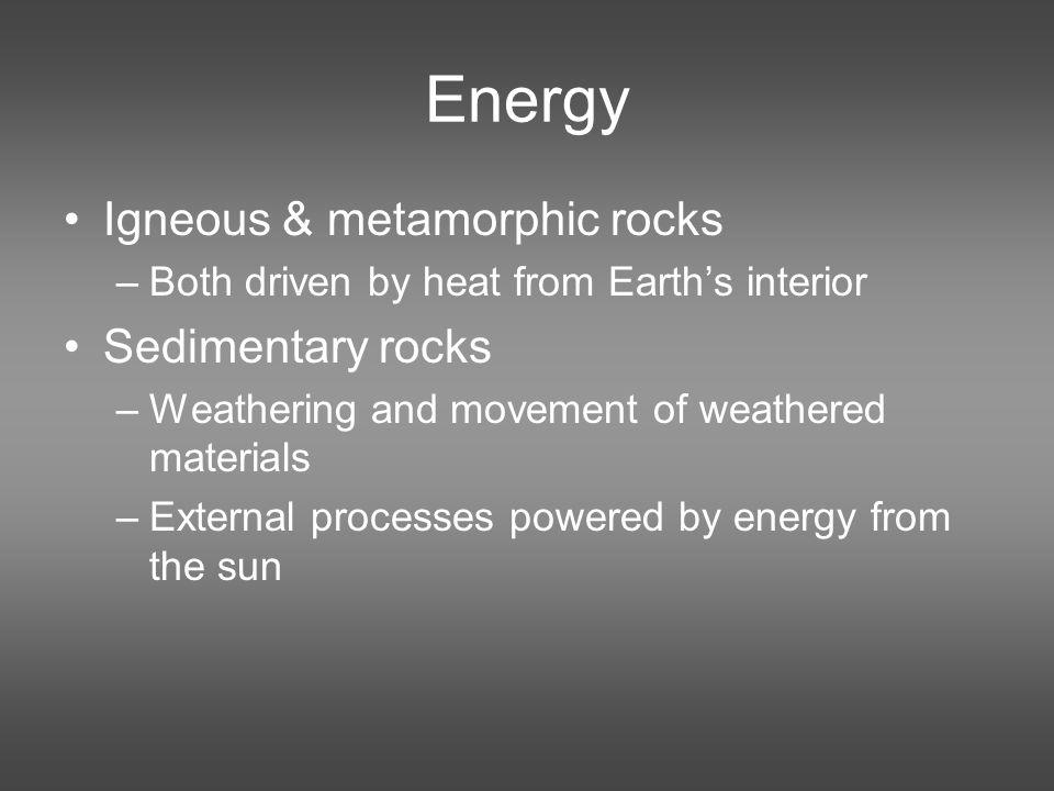 Energy Igneous & metamorphic rocks Sedimentary rocks