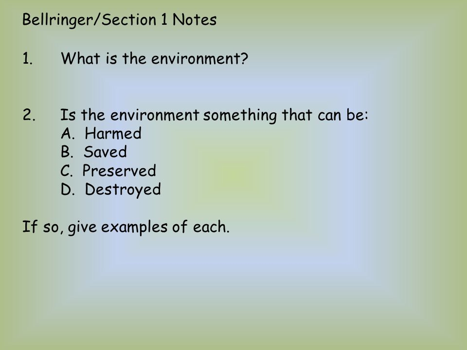 Bellringer/Section 1 Notes