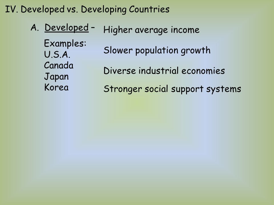 Developed vs. Developing Countries