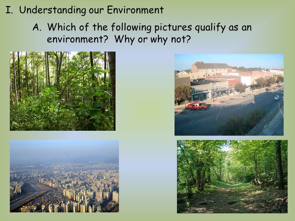 I. Understanding our Environment