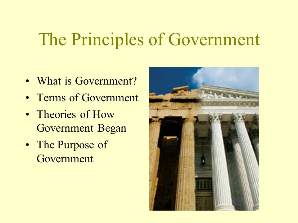 The Principles of Government