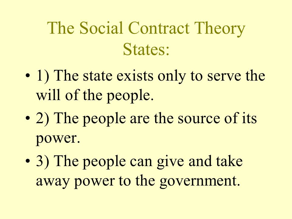 The Social Contract Theory States: