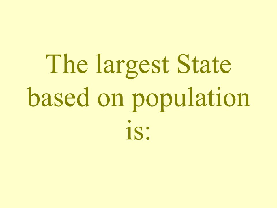 The largest State based on population is:
