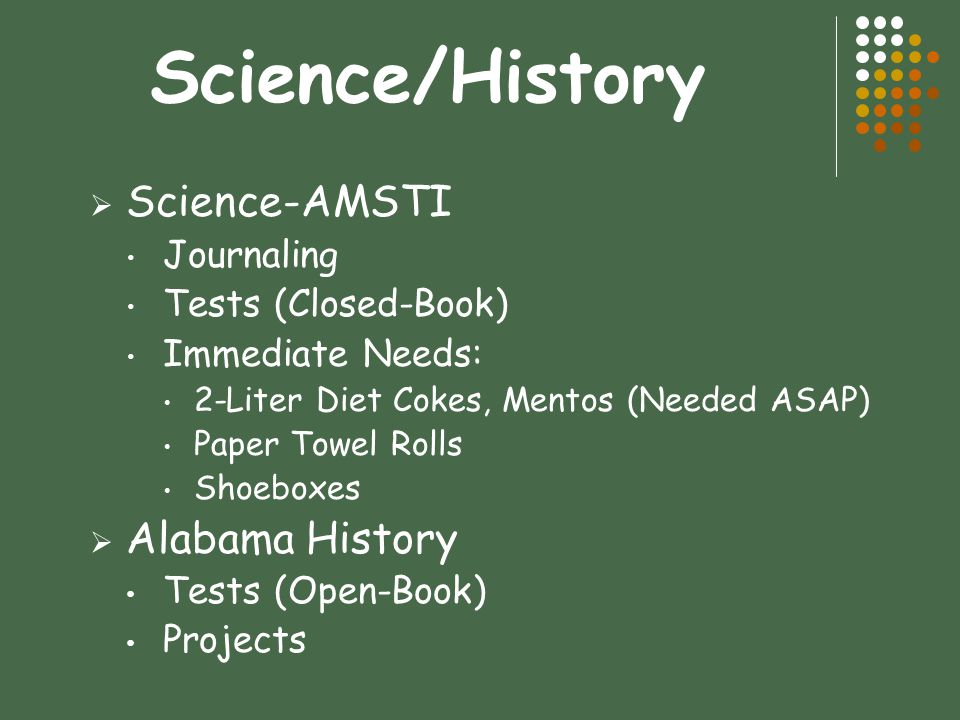 Science/History Science-AMSTI Alabama History Journaling