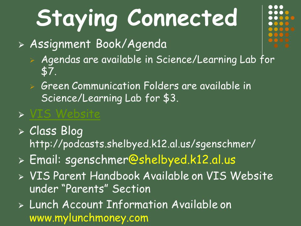 Staying Connected Assignment Book/Agenda VIS Website