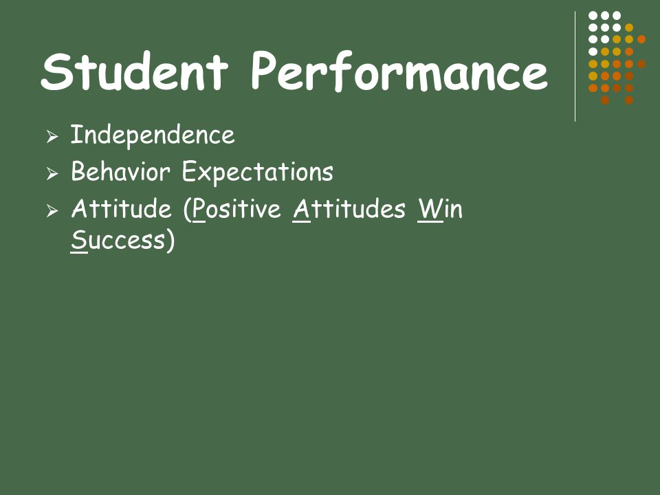 Student Performance Independence Behavior Expectations