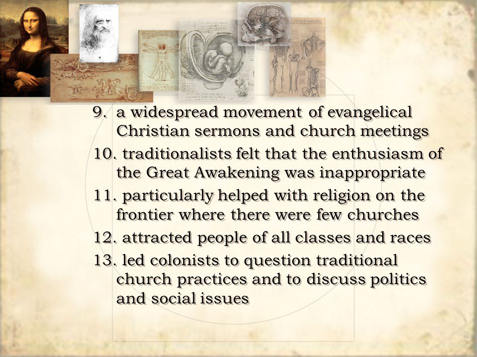 9. a widespread movement of evangelical