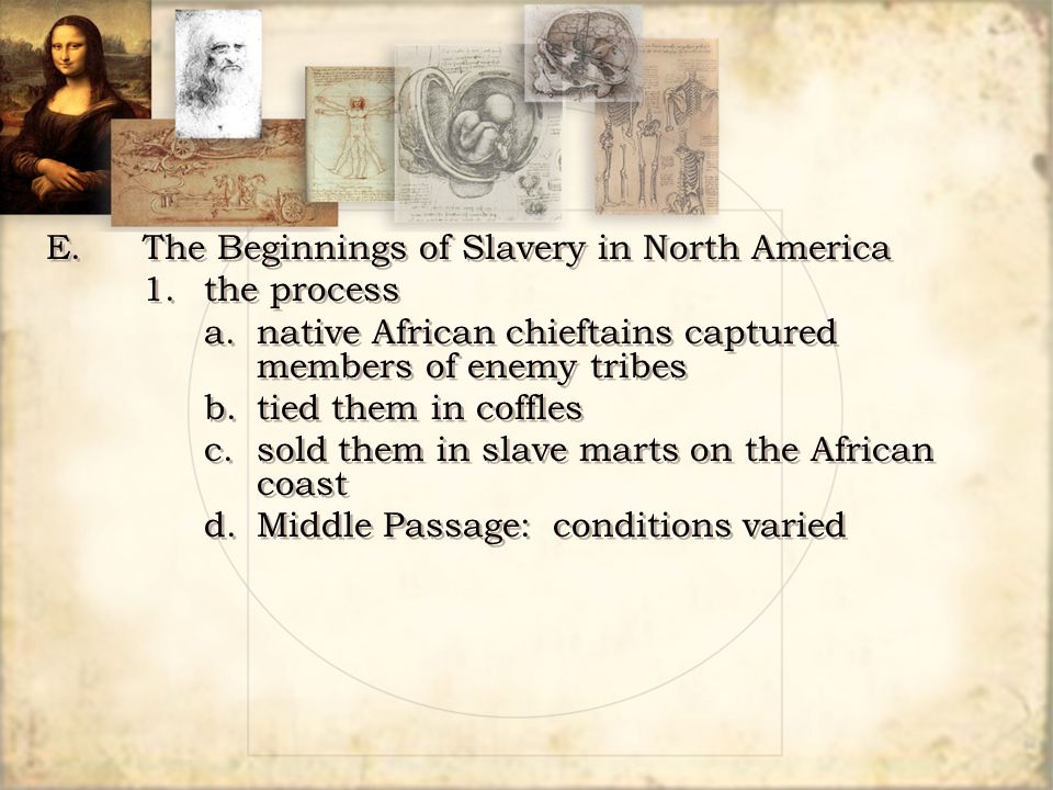 E. The Beginnings of Slavery in North America