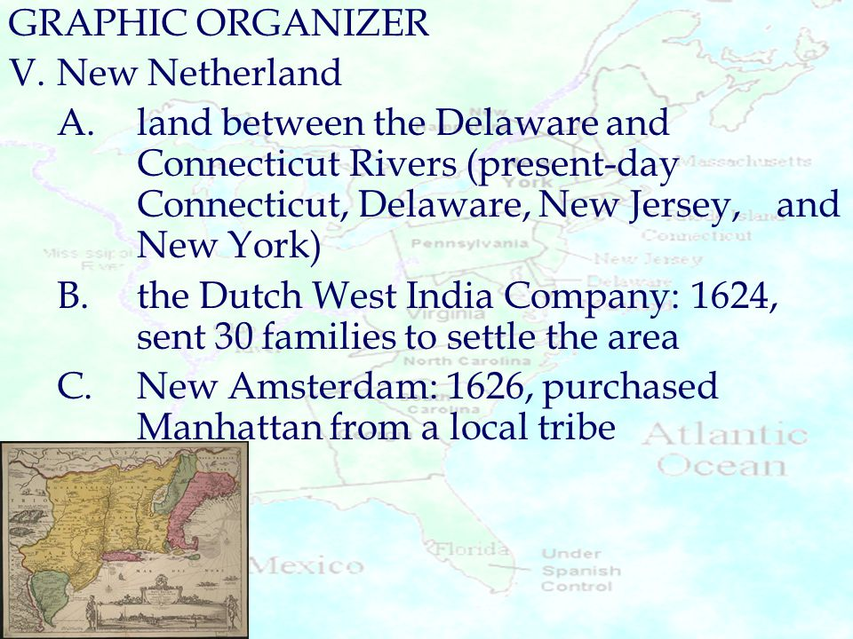 GRAPHIC ORGANIZER V. New Netherland.