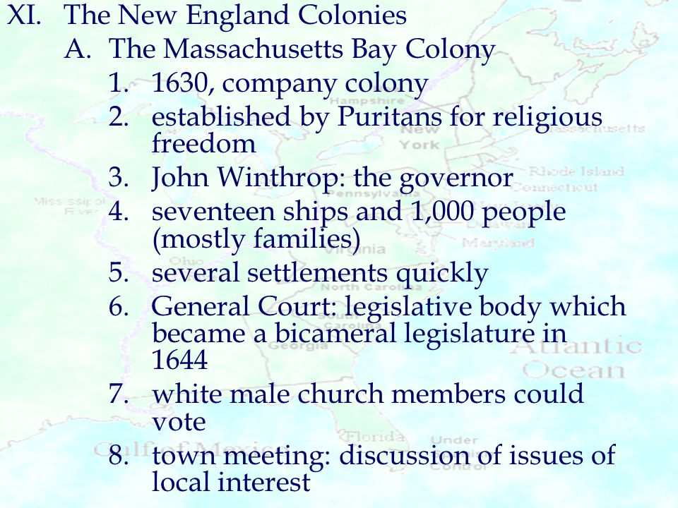 XI. The New England Colonies
