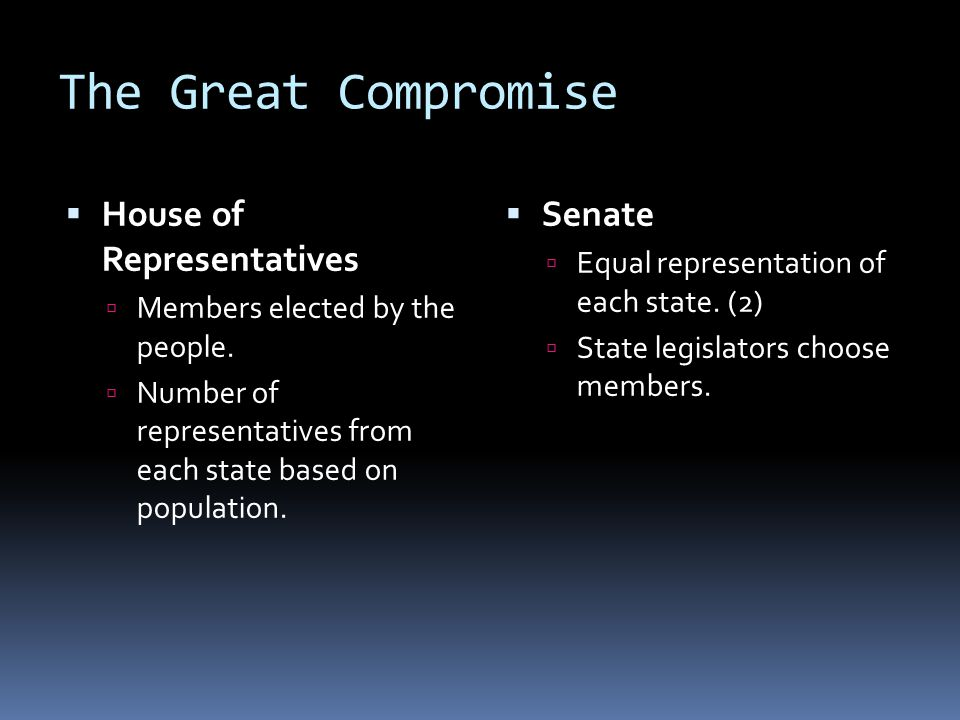 The Great Compromise House of Representatives Senate