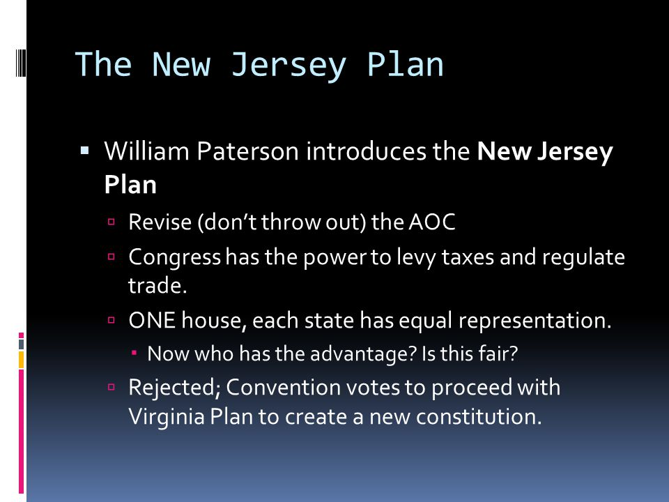 The New Jersey Plan William Paterson introduces the New Jersey Plan