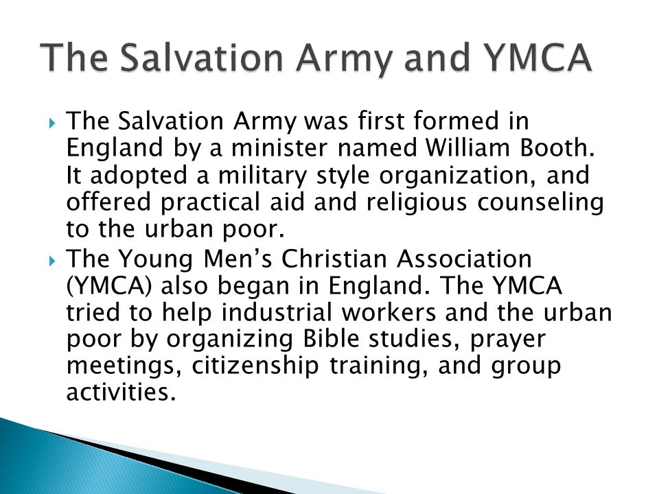 The Salvation Army and YMCA