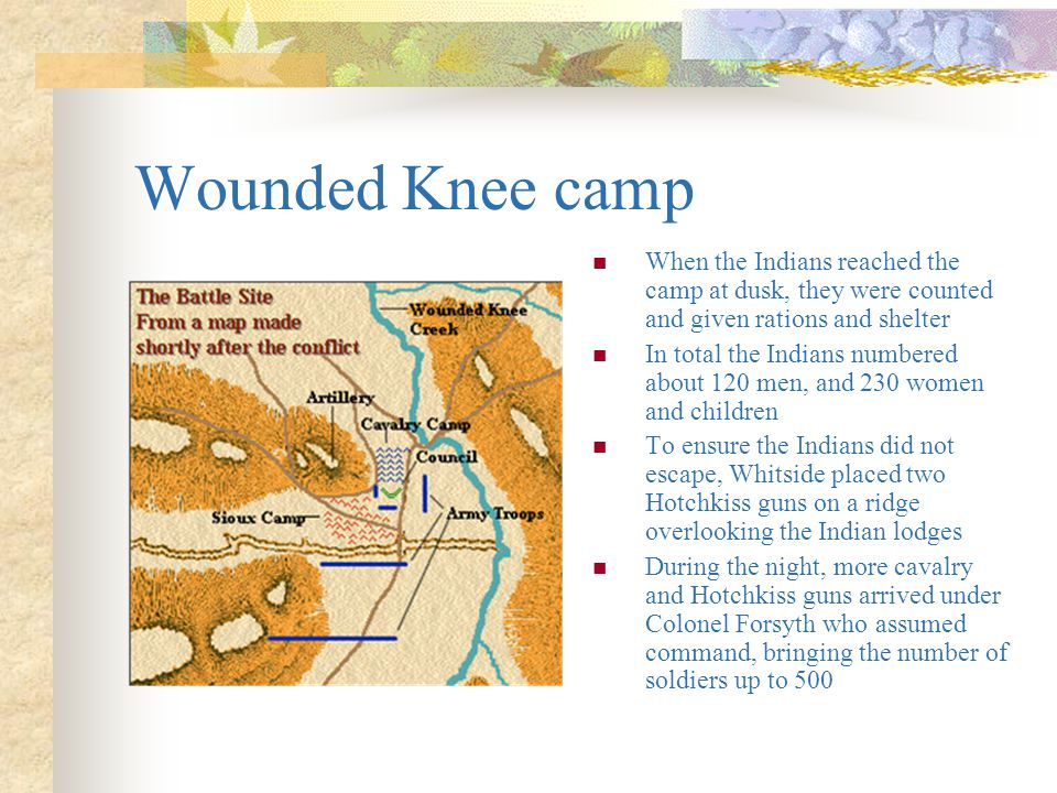 Wounded Knee camp When the Indians reached the camp at dusk, they were counted and given rations and shelter.