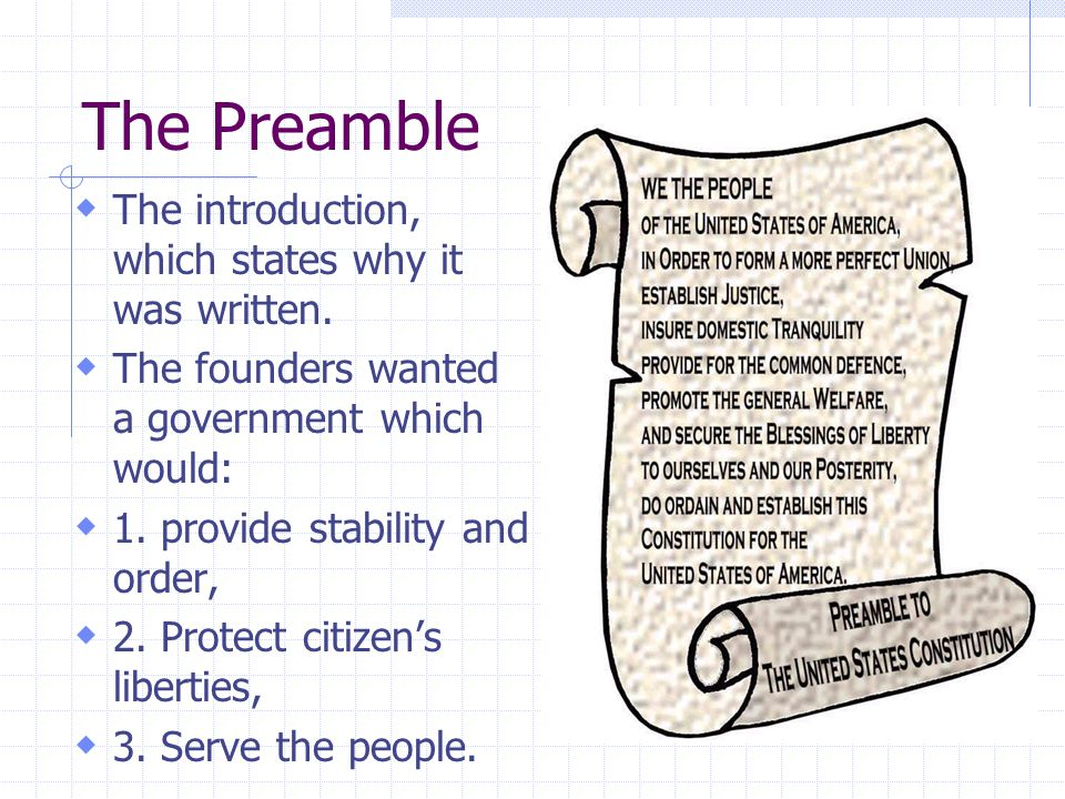 The Preamble The introduction, which states why it was written.