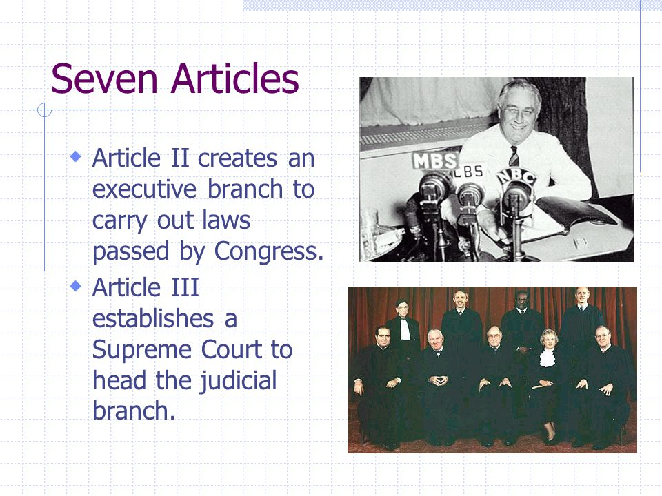 Seven Articles Article II creates an executive branch to carry out laws passed by Congress.