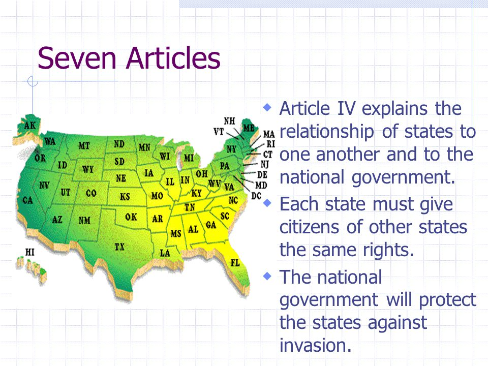 Seven Articles Article IV explains the relationship of states to one another and to the national government.