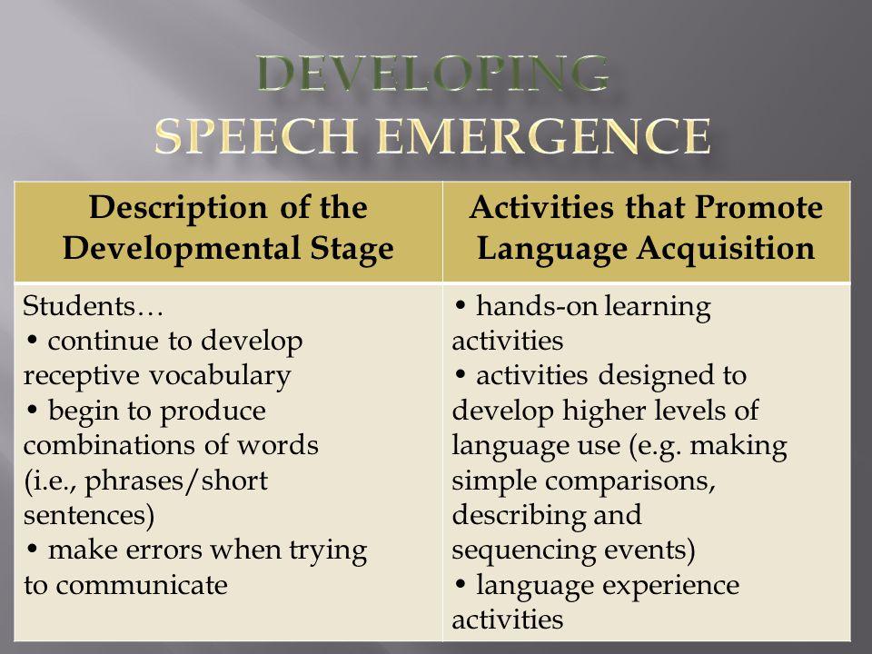Developing Speech Emergence