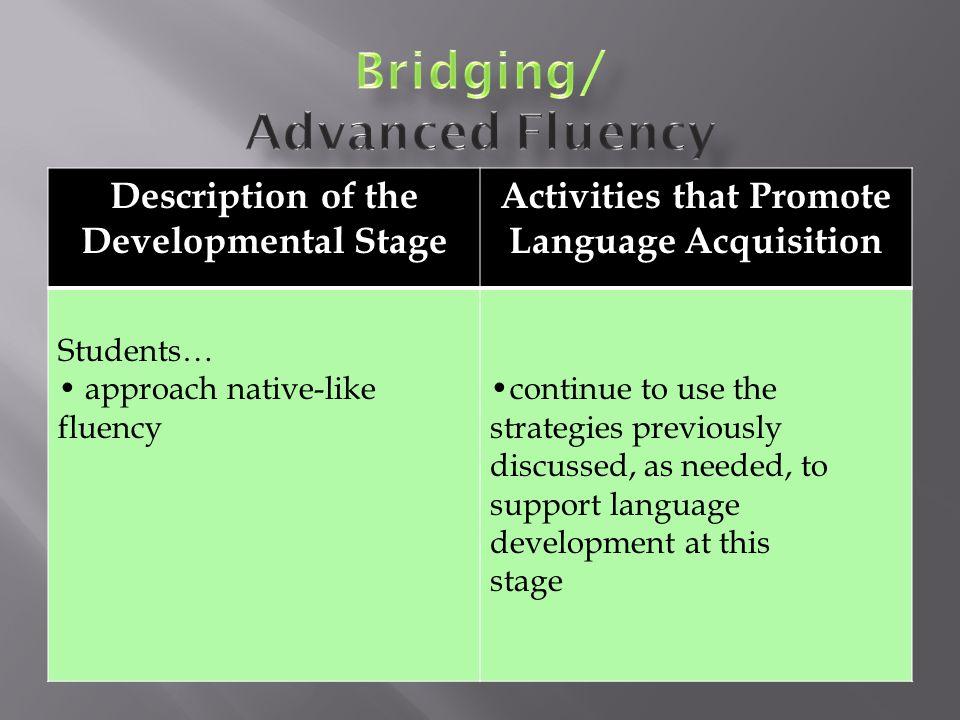 Bridging/ Advanced Fluency