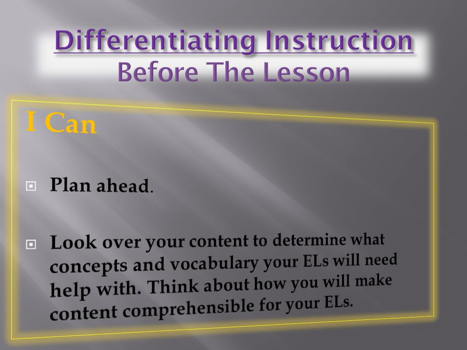 Differentiating Instruction Before The Lesson
