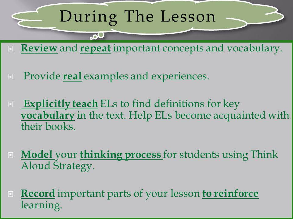 During The Lesson Review and repeat important concepts and vocabulary.