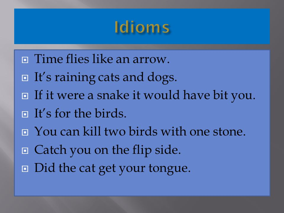 Idioms Time flies like an arrow. It's raining cats and dogs.