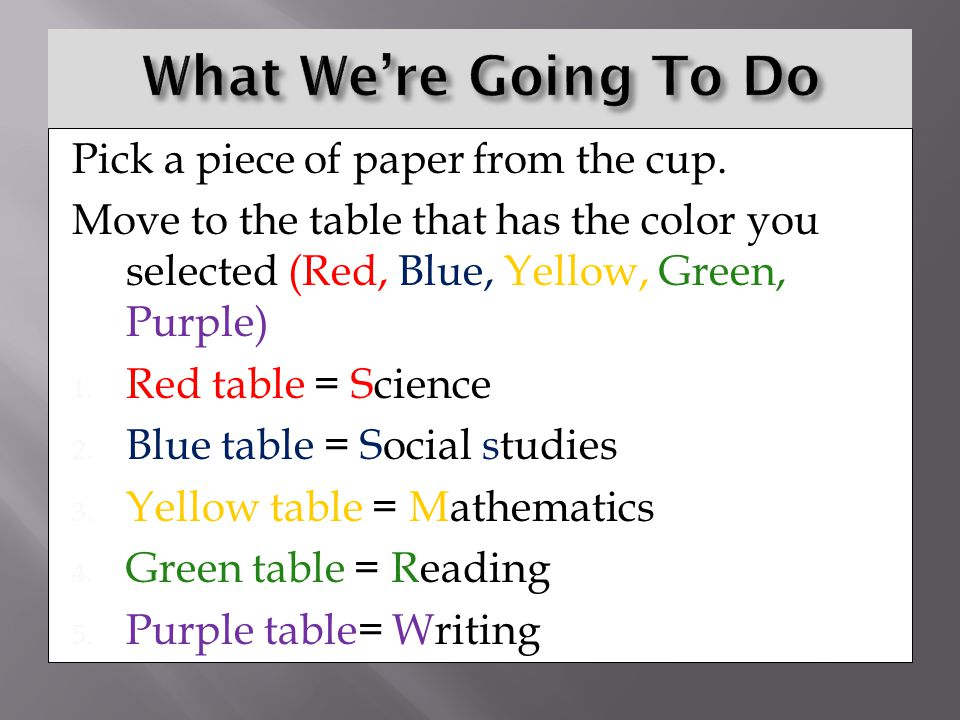 What We're Going To Do Pick a piece of paper from the cup.