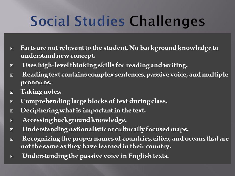 Social Studies Challenges