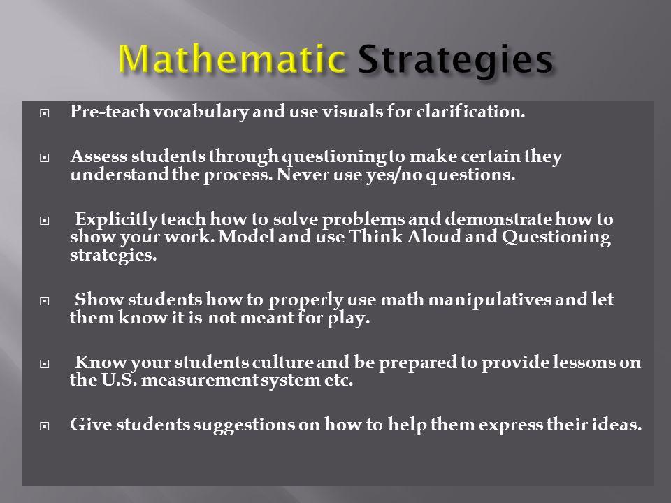 Mathematic Strategies
