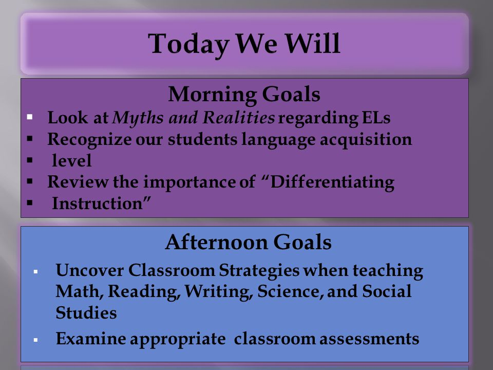 Today We Will Morning Goals Afternoon Goals