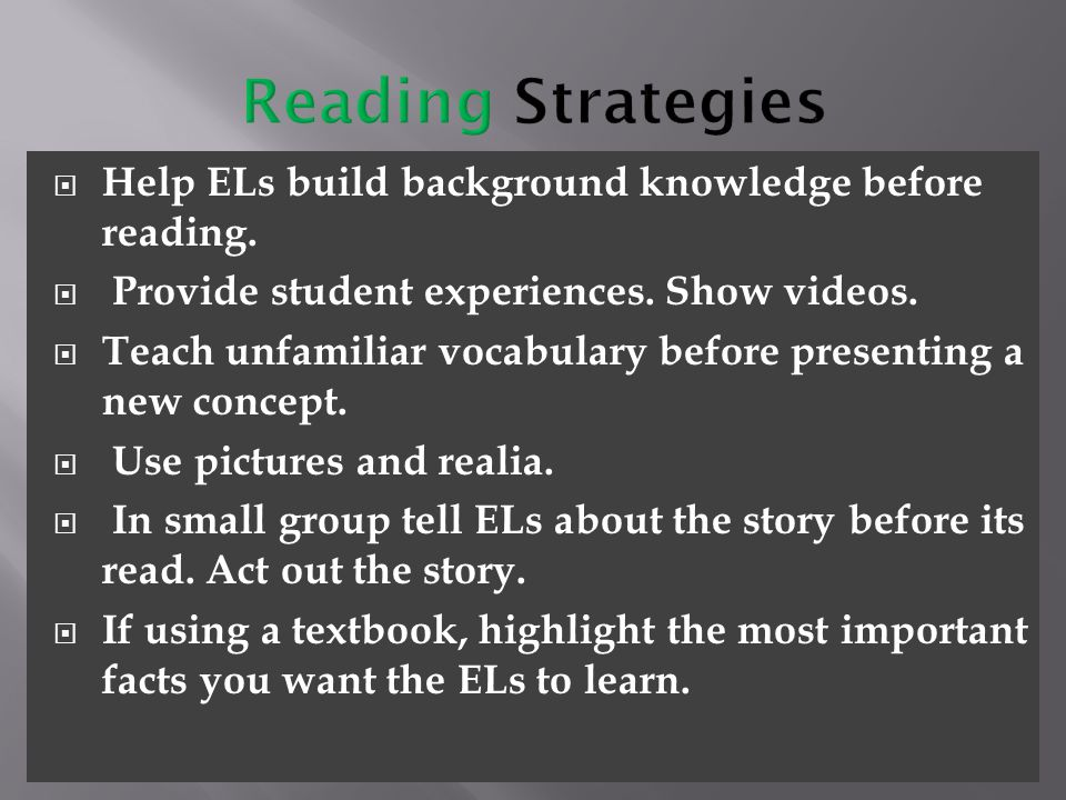 Reading Strategies Help ELs build background knowledge before reading.