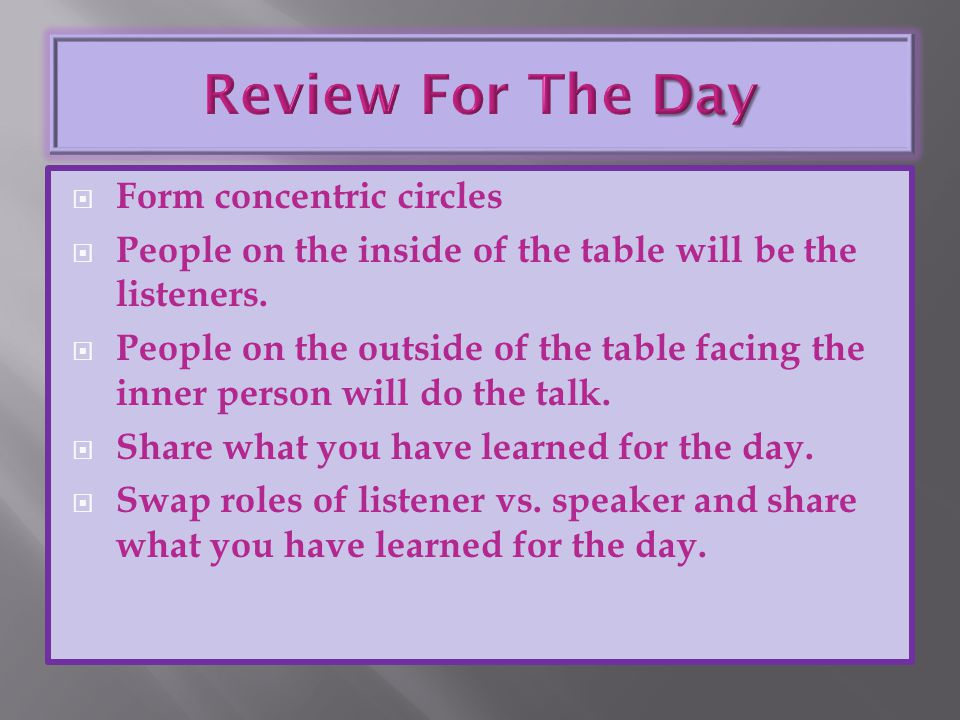 Review For The Day Form concentric circles