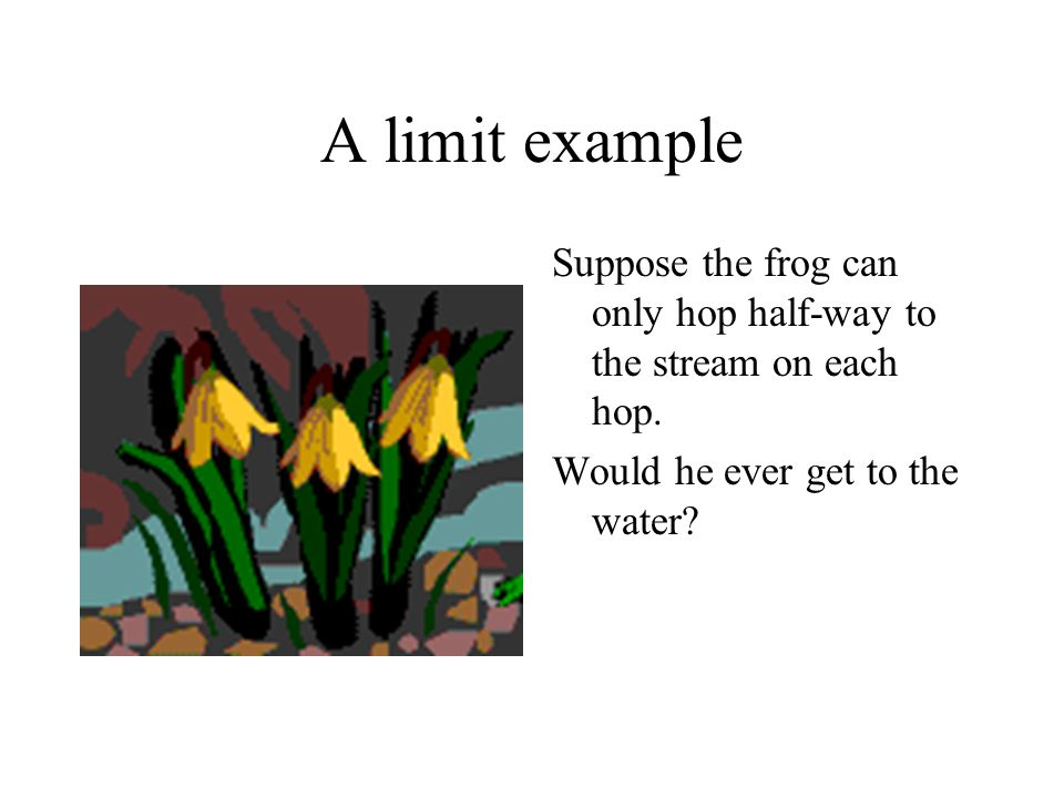 A limit example Suppose the frog can only hop half-way to the stream on each hop.