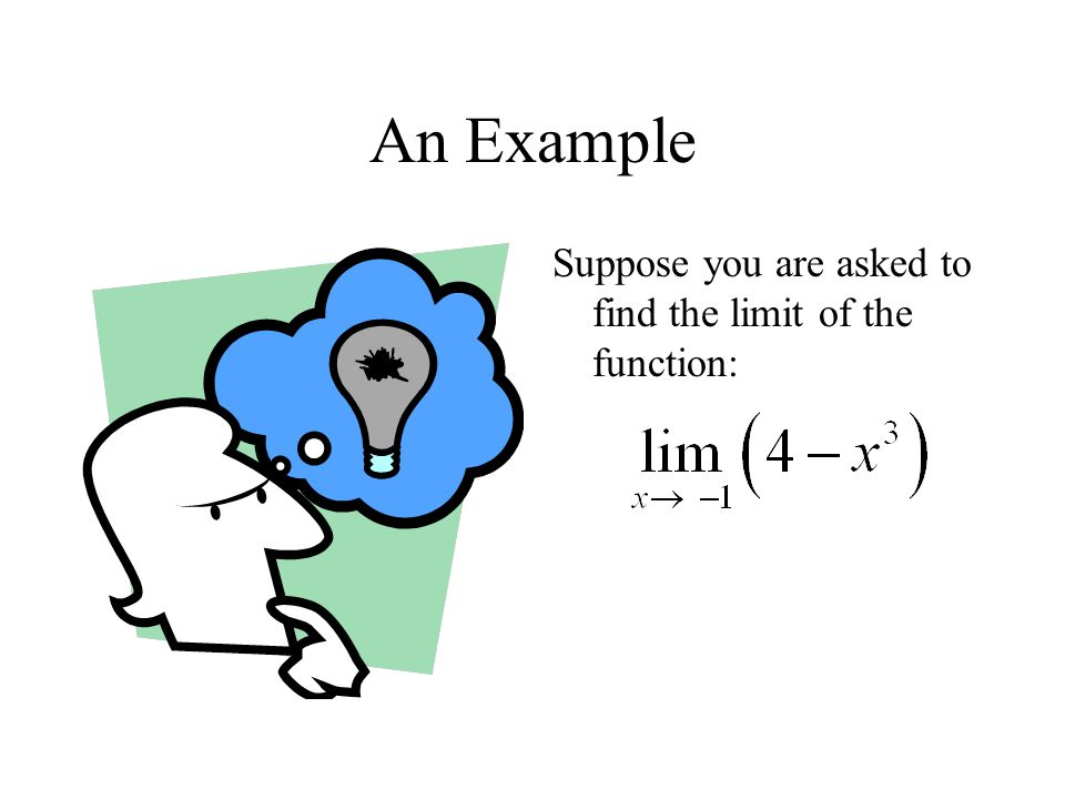 An Example Suppose you are asked to find the limit of the function: