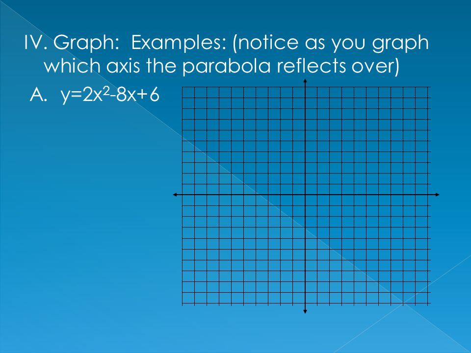 IV. Graph: Examples: (notice as you graph which axis the parabola reflects over)