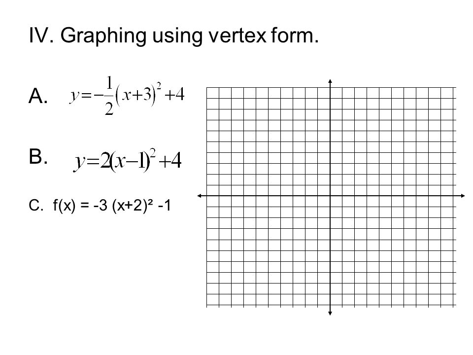 IV. Graphing using vertex form. A. B.
