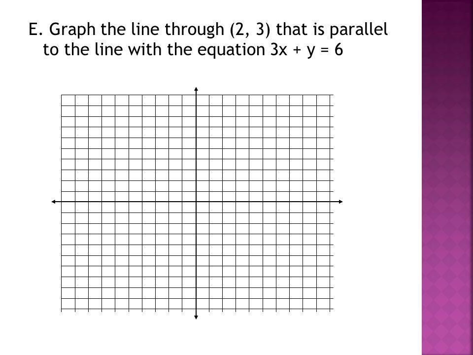 E. Graph the line through (2, 3) that is parallel to the line with the equation 3x + y = 6