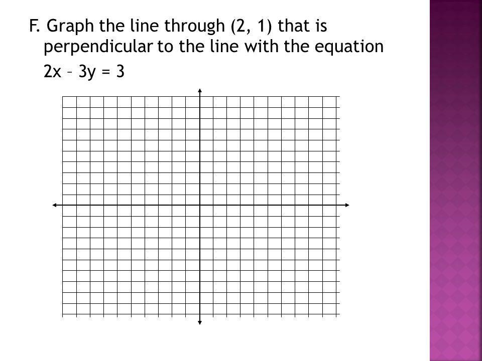 F. Graph the line through (2, 1) that is perpendicular to the line with the equation 2x – 3y = 3