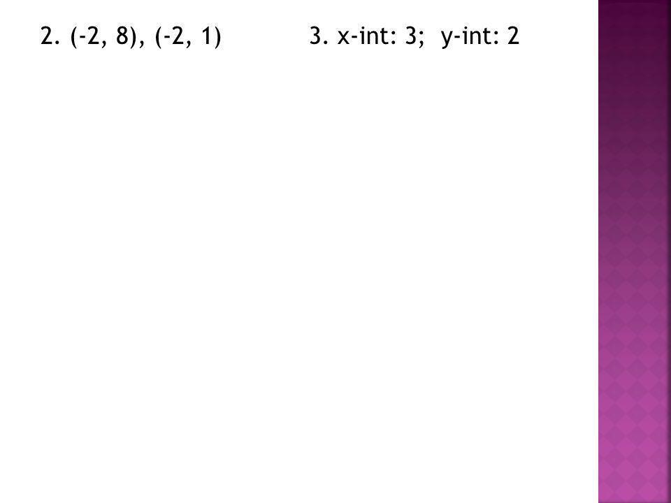 2. (-2, 8), (-2, 1) 3. x-int: 3; y-int: 2