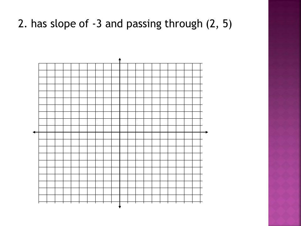 2. has slope of -3 and passing through (2, 5)