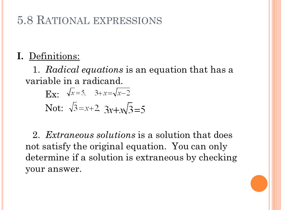 5.8 Rational expressions